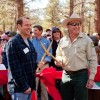 Town of Mammoth Lakes Mayor Matthew Lehman and Inyo National Forest Supervisor Ed Armenta lead the crowd for the ribbon cutting and celebration.