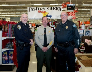 (l-r) Bishop Police Chief Chris Carter, Inyo Sheriff Bill Lutze, and Mammoth Police Chief Dan Watson.