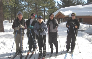 Long-time locals Bryce and Wilma Wheeler arrived with some first-time cross country ski family members.
