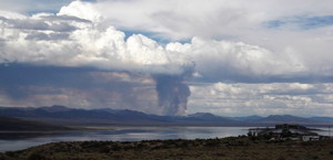 The Toiyabe Forest Fire as seen from Highway 395 at Mono Lake.