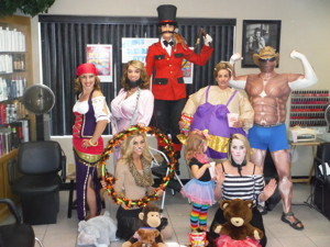 "Under the Big Top at Cyndi's Sierra Styles Circus!!!   top left to right   Christina West, Alisa Morley, Cyndi Rottner, Biz Murphy, Eric Gustafson bottom "" ""    Brittani Murray, Kinlei Romero, Tawni Romero"