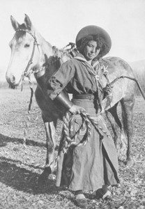 MAY – Nellie Brown and her horse. Eastern California Museum photo.