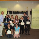 From left to right: uperintendent Terry McAteer, Jeniffer Velazquez (Home Street), Grace Griego (Round Valley), Arianna Pope (Home Street), Nichole Asher (Owens Valley), Jake Rasmuson (Coldwell Banker), Steven Mather (Owens Valley), seated Paige Vance (Big Pine) and Kennah Davis (Round Valley).
