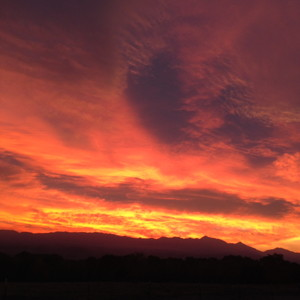 Red sky at dawning in Independence.  Photo by Colleen Hampton