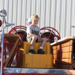 The next generation of  Big Pine firefighters Kevin Freeman, 4, on the department's 1946 fire engine.