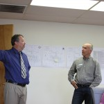 Hank Truxillo (left) a self-described casual biker offers cycle safety suggestions to Bishop Public Works Director Dave Grah during Monday afternoons Active Transportation project session.