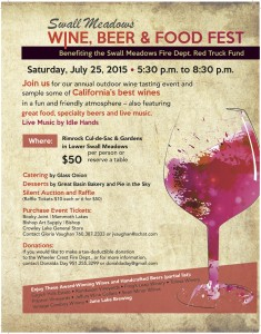 Swall Meadows Wine, Beer & Food Fest Flyer