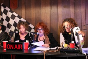 Shown during the previous live performance of the War of the Worlds, from left to right, Mary Winchester, Jeanie Smith and Judyth Greenburgh. WAR WORLDS MAX MARY: Max Rosan, plays the Orson Welles part in War of the Worlds, and Mary Winchester plays a somewhat confused eye witness to the Martian's landing just south of the Alabama Gates.