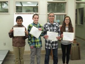 Mahdi Ayman (HSMS), Joey Huston (Big Pine), Erik Martinez (OV) and Clarissa Castro (OV)