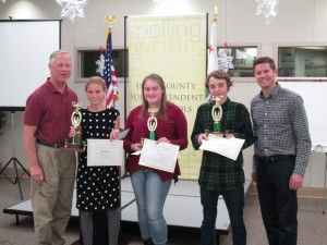 Inyo County Suptintendent of Schools Terry McAteer, Haley Yarborough (RV - 1st place), Kylee Jorgensen (RV - 2nd place), Bodie Steinwand (Bog Pine - 3rd place) and sponsor Jake Rasmuson of Coldwell Banker