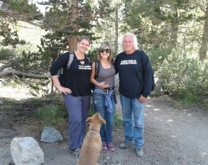 In the John Muir Wilderness, Kearsarge Pass trail, Kammi Foote and Chuck Levin run into Carma Roper and her faithful dog Rex.