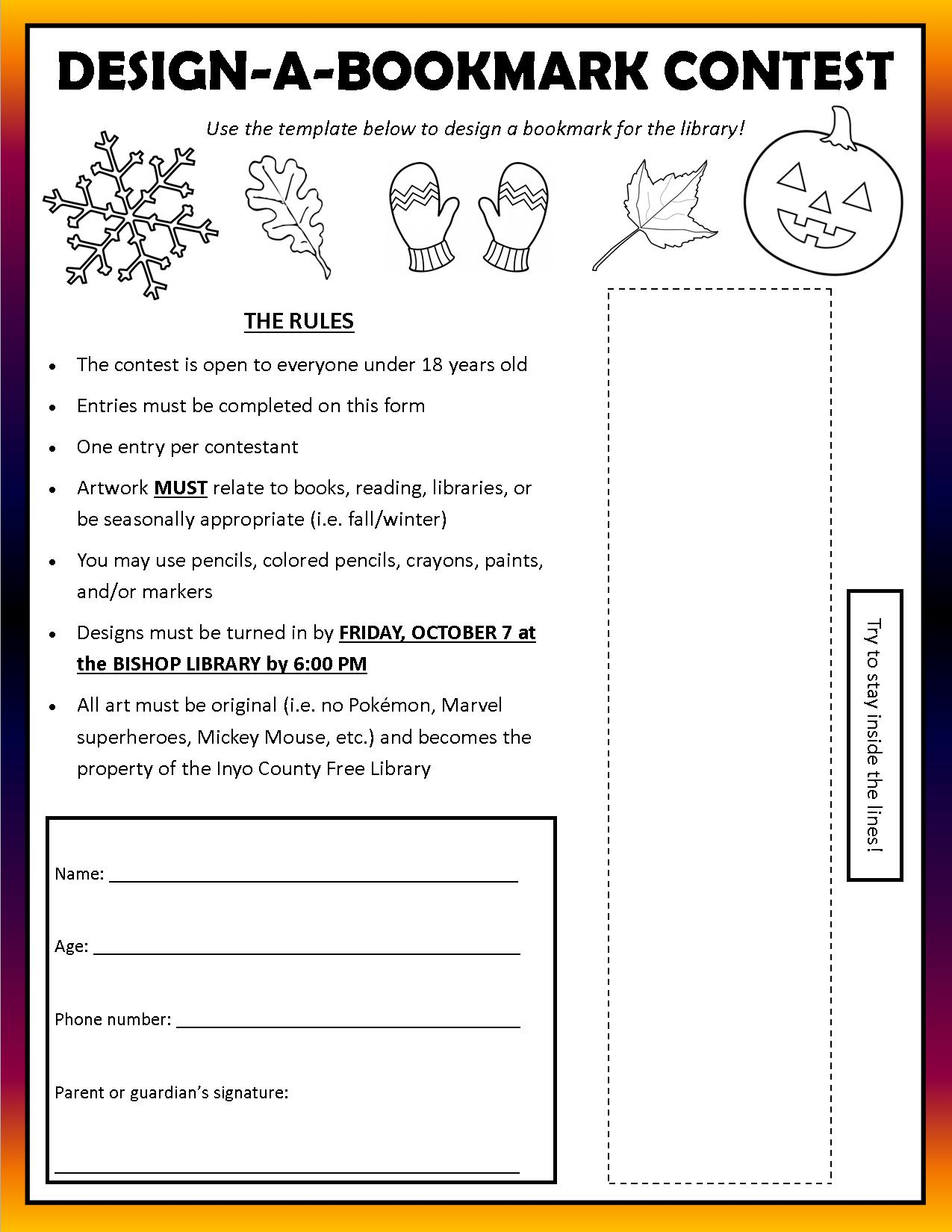 design a bookmark template - design a bookmark contest at bishop library sierra wave