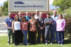 NIHD's Cardio-Pulmonary team, from left to right, back row: Sean McWilliams, Darin Graves, Austin Archer, Terry Tye, Kevin Christensen. Front row: Sarah Miller, Niki Mewborn, Amy Stange, Ken Lyndes, Morgan Nutting and Mykala Howard. Not shown is Heather Anderson. Photo by Steve Tordoff/Northern Inyo Healthcare District