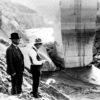 William Mulholland and his assistant Van Norman inspect all that reamins after the St. Francis Dam collapsed in March of 1928.