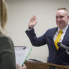 Robert Sharp repeats the Oath of Office as he is sworn in to serve as the Zone 3 representative to the Northern Inyo Healthcare District Board of Directors. Photo by Barbara Laughon/Northern Inyo Healthcare District