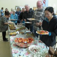 Attendees lined for the scrumptious breakfast delicacies at the 2018 Hospice of the Owens Valley's Silent Auction and Breakfast Buffet. Photo courtesy Pioneer Home Health Care.